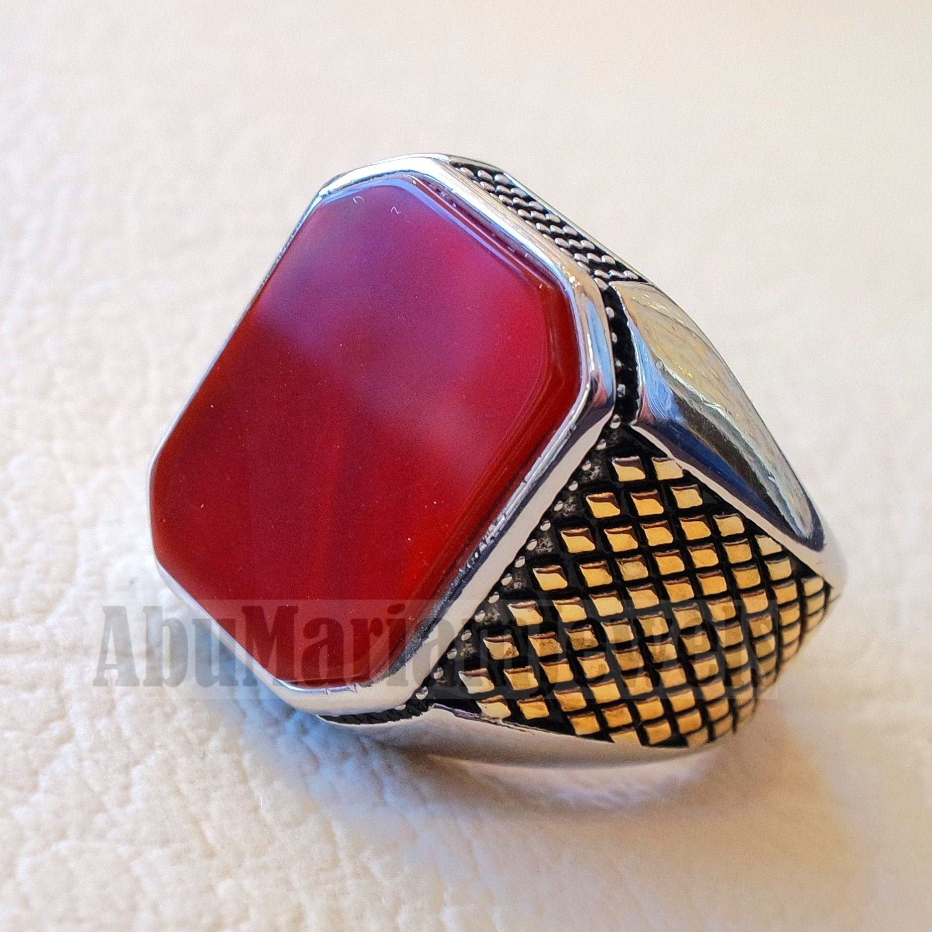 Rectangular Octagon Agate Red Aqeeq Carnelian Man Ring Etsy Rings For Men Sterling Silver Rings Sterling Ring