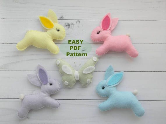 PDF Felt Bunny Rabbit Pattern Felt Butterfly Plush Sewing Pattern ...