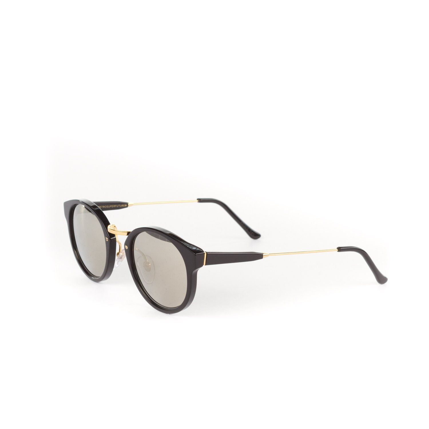 Retrosuperfuture Panama Black/Ivory Sunglasses SUPER-S20 47mm. 47x24x145 mm Gold finish metal arms and nose piece and accents Ivory Mirror Carl Zeiss lenses Microfiber cleaning cloth included Black, snap front case included Hand made in Italy.