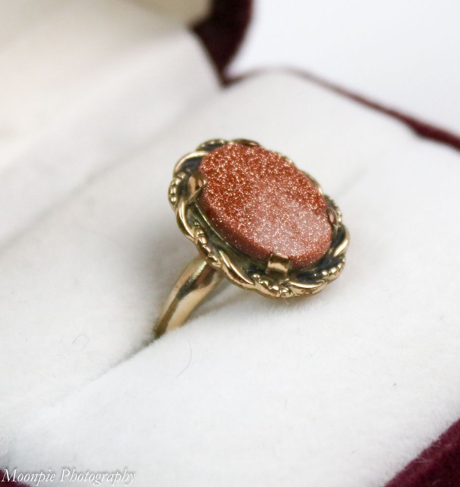 Vintage Clark And Coombs 10k Gold Filled Sandstone Ring Size 6 5 Clarkandcoombs Cocktail 10k Gold Ring Size Jade Ring