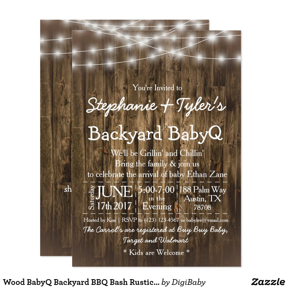 Wood Babyq Backyard Bbq Bash Rustic Baby Shower Invitation Template