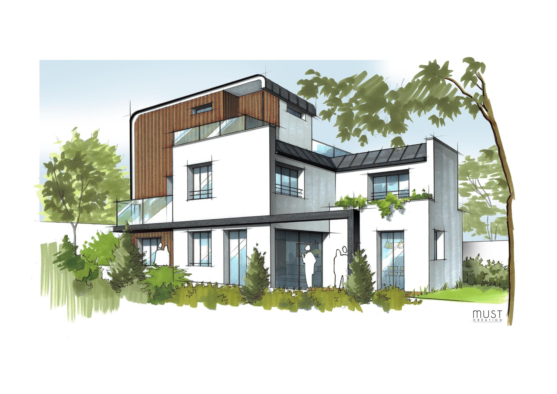 Dessin illustration croquis d\'architecture à main levée. Maison ...