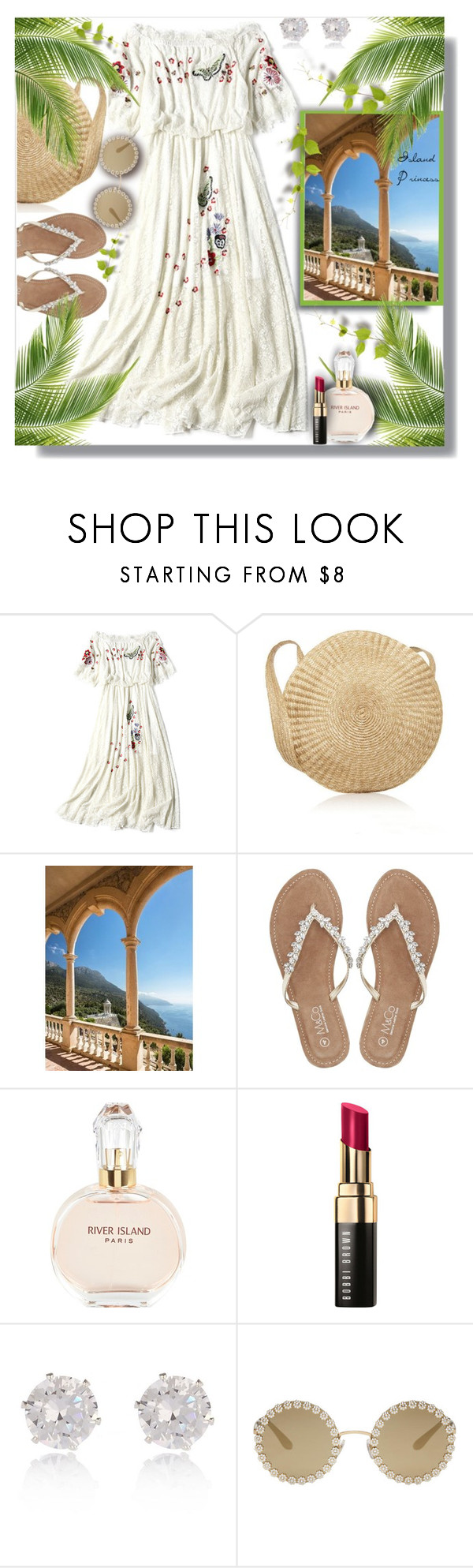 """""""Island Princess!"""" by sarahguo ❤ liked on Polyvore featuring Brewster Home Fashions, M&Co, River Island, Bobbi Brown Cosmetics and Dolce&Gabbana"""