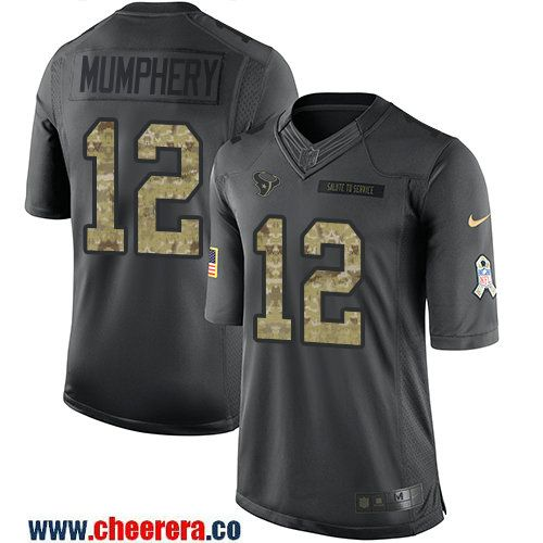 Men's Houston Texans #12 Keith Mumphery Black Anthracite 2016 Salute To Service Stitched NFL Nike Limited Jersey
