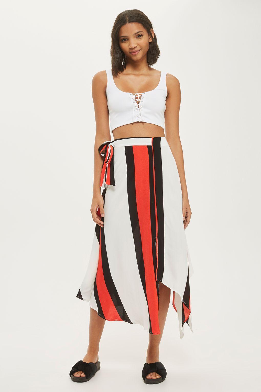 de17c89ef Stripe Asymmetric Midi Skirt | Italy | Midi skirt, Skirts, Summer skirts