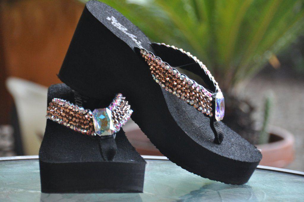 252c950c10aaf3 Rose-gold Iridescent Rockstar Platform Swarovski Crystal Flip-flop Sandals  by Sparkle Steps