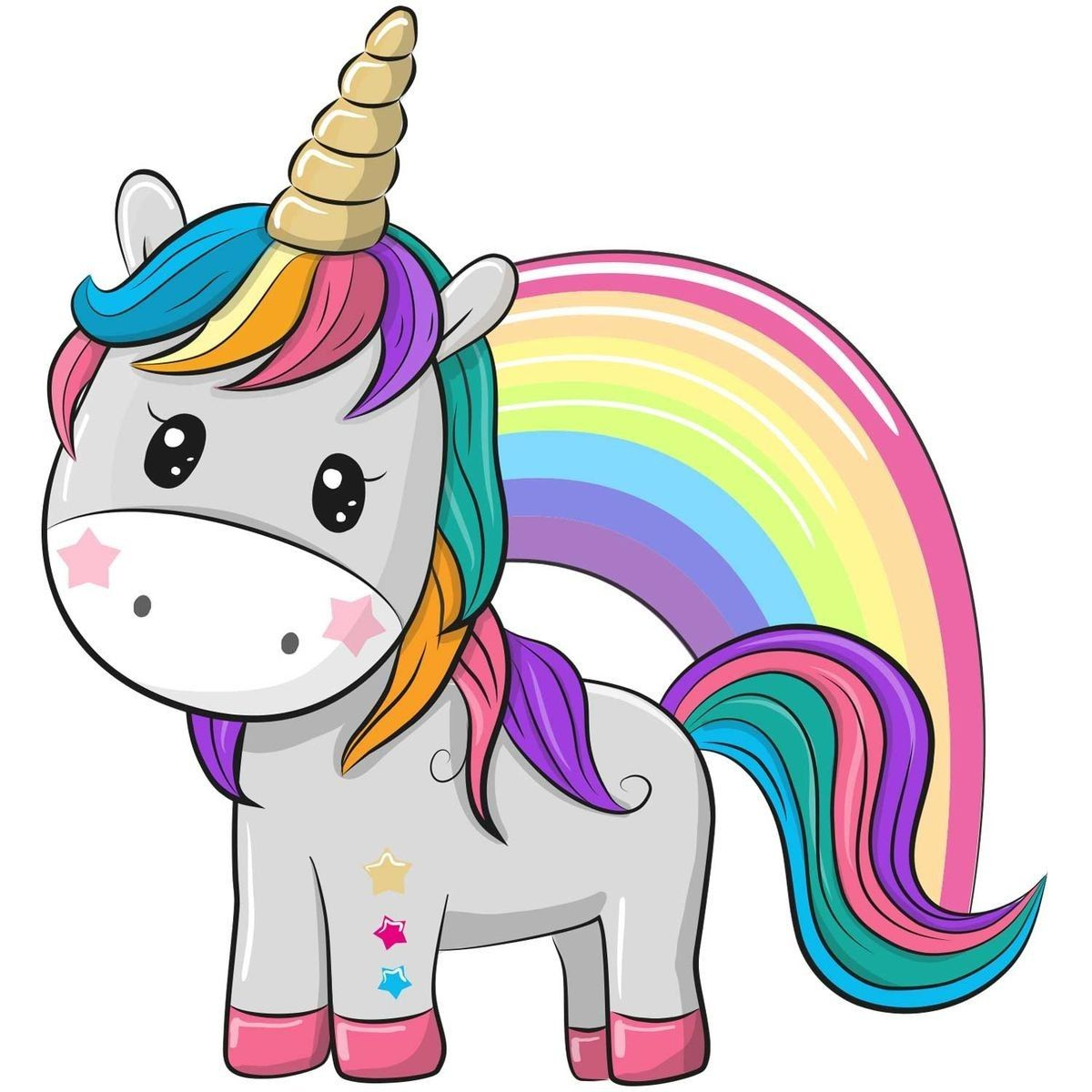 Cute Magical Unicorn And Rainbow Vector Design Isolated On White