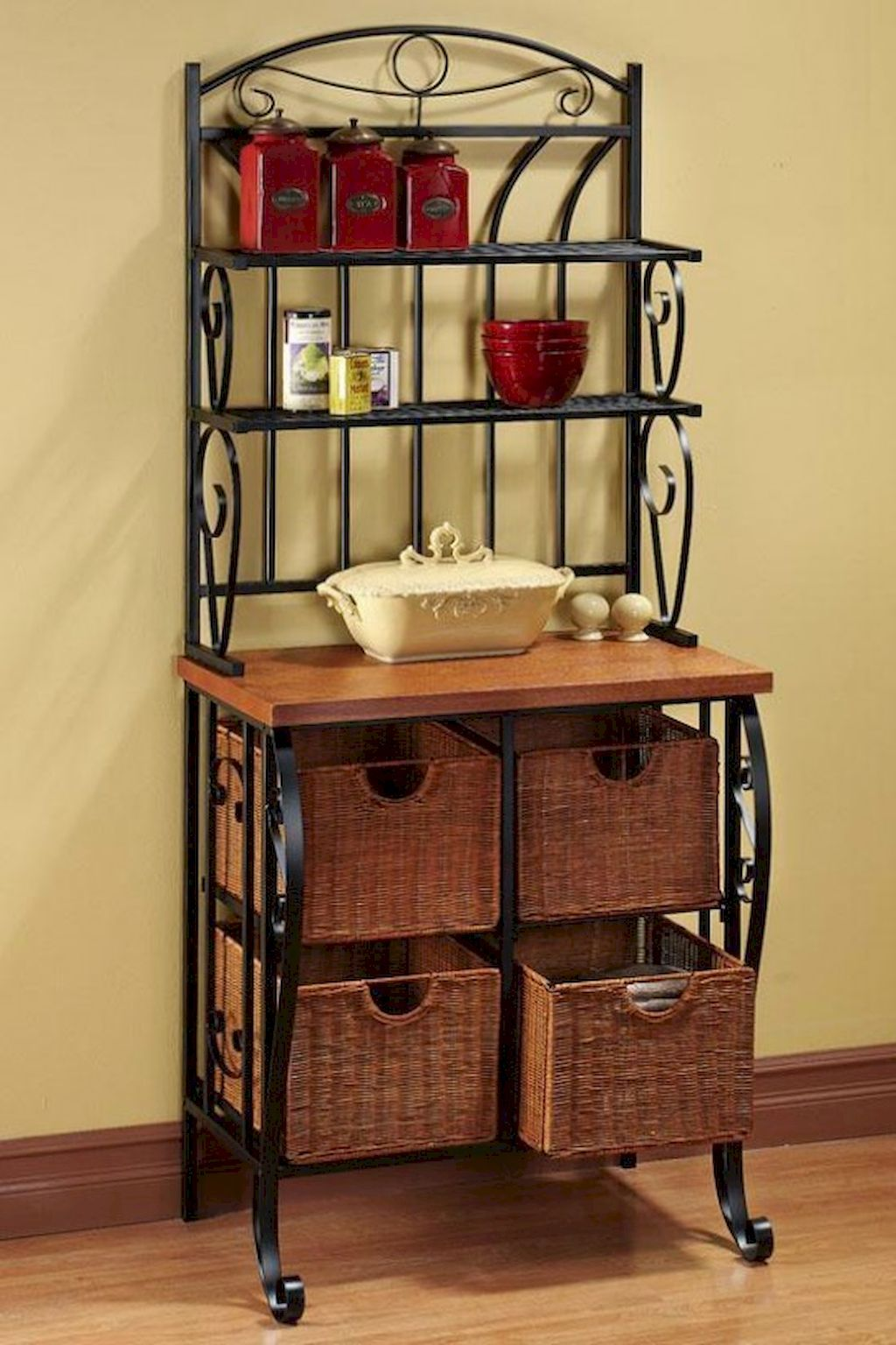 In Office Space With Baskets Toaster Microwave Water Pitcher Or