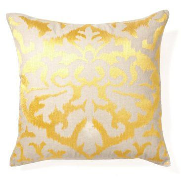 Check out this item at One Kings Lane! Ikat 20x20 Embroidered Pillow, Yellow