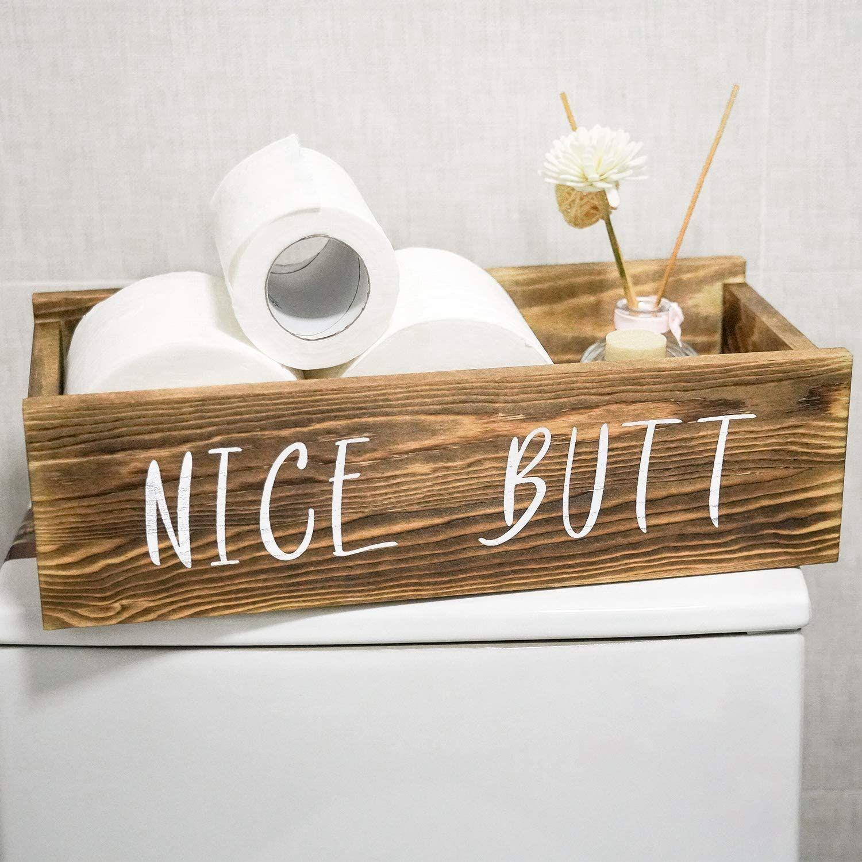 Bathroom decor box toilet paper holder farmhouse rustic