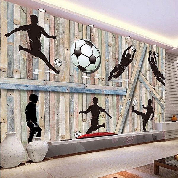 Football Wall Murals sports soccer football 3d wallpaper wall mural wood background