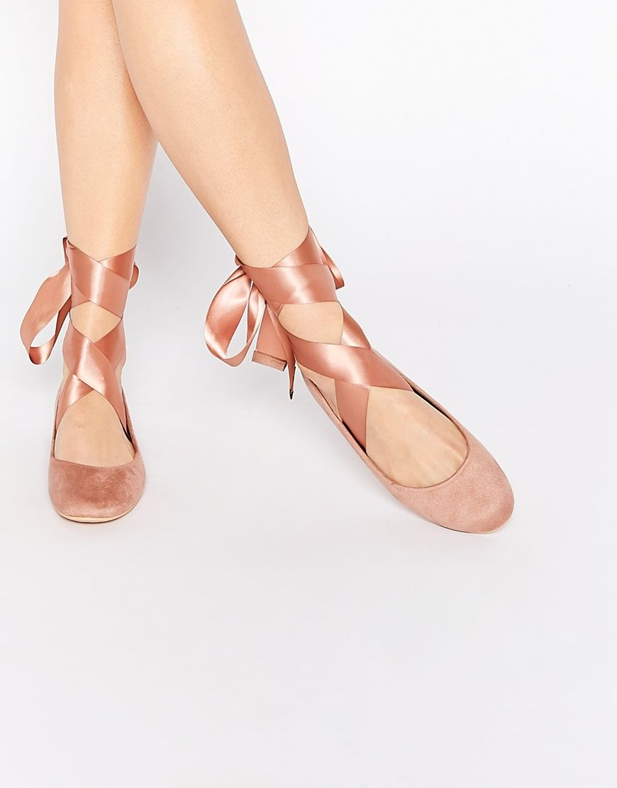 5f6f5fe93039 Image 1 of Glamorous Nude Suedette Ribbon Tie Ballet Shoes