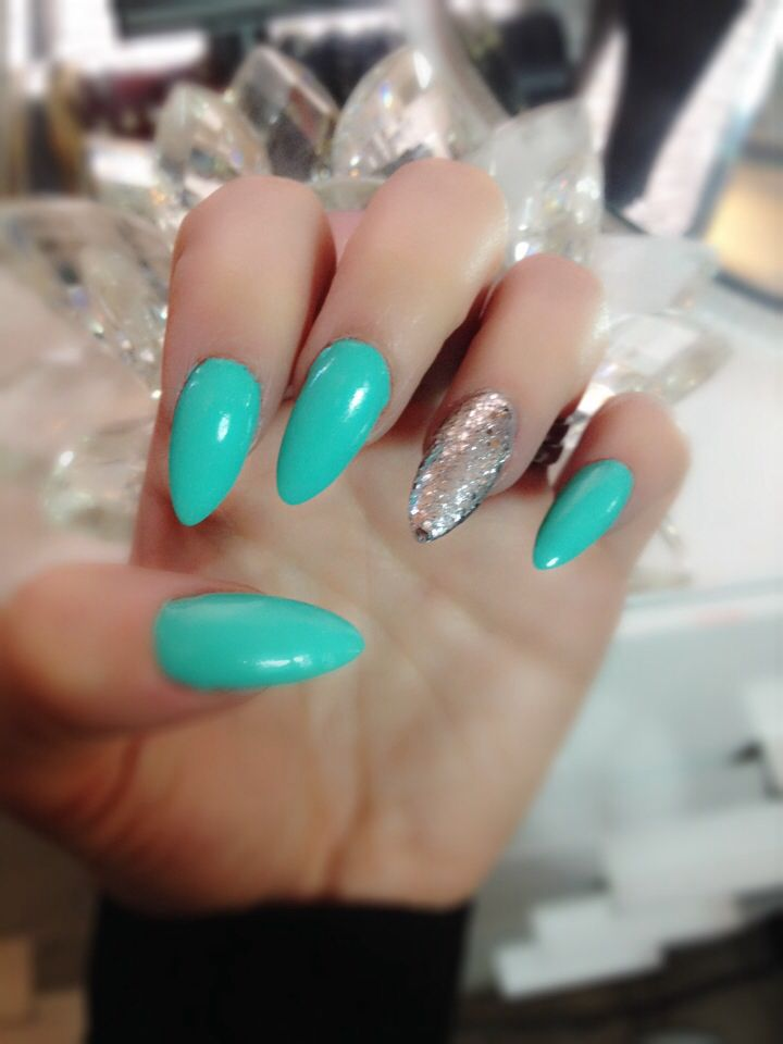 Tiffany Turquoise Blue And Silver Pointy Nails :) Nice And