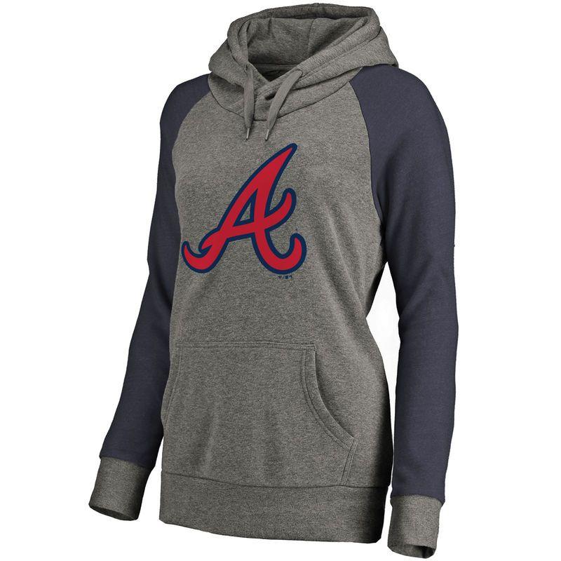 Atlanta Braves Women s Primary Logo Raglan Sleeve Tri-Blend Pullover Hoodie  - Ash ff8bc0010