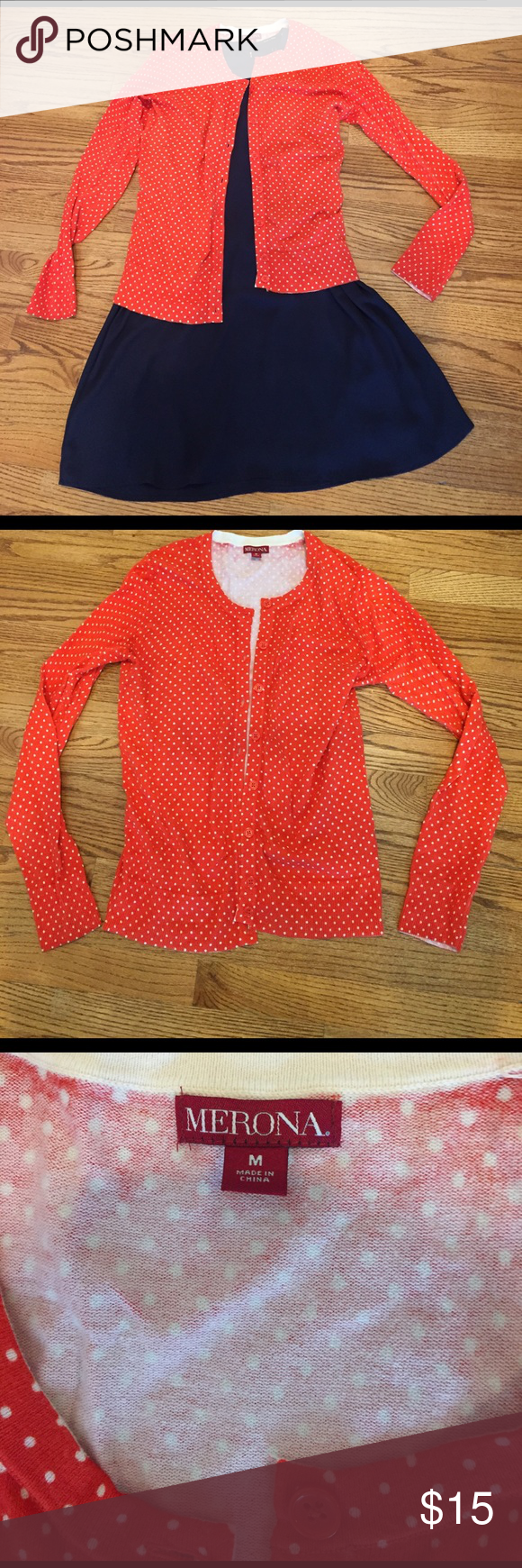 Orange and White Polka Dot Cardigan | Sweater cardigan, Polka dot ...