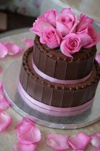 Chocolate Wedding Cake With Pink Roses