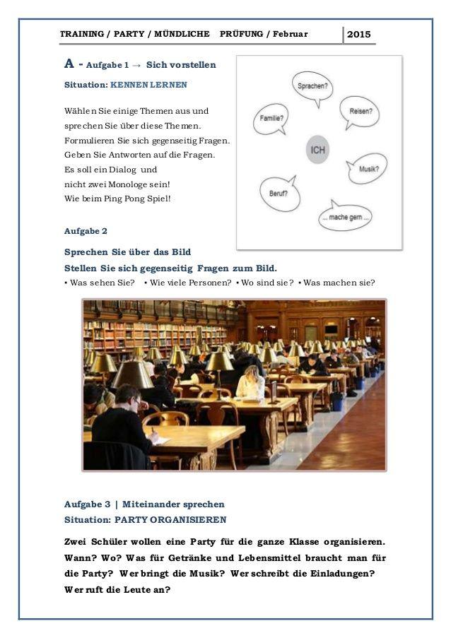 A1 Training Mündliche Prüfung Februar PARTY | A1 | Pinterest | Learn ...