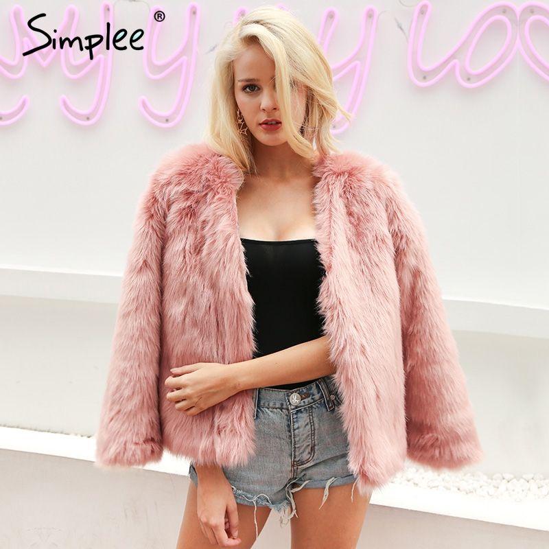 Aliexpress.com : Buy Simplee Warm rabbit fur faux fur coat women ...