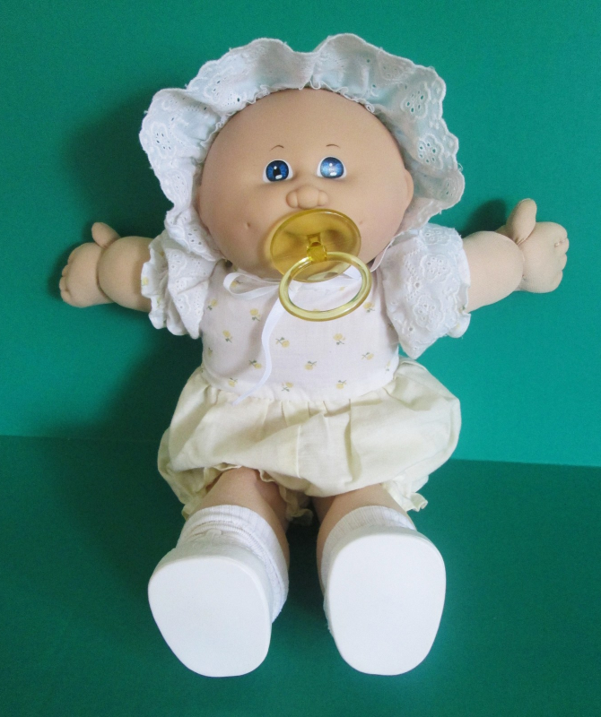 Cabbage Patch Doll 1984 Bald Blue Eyes Pacifier Yellow Ruffle Romper And Bonnet Cabbage Patch Dolls Cabbage Patch Kids Cabbage Patch