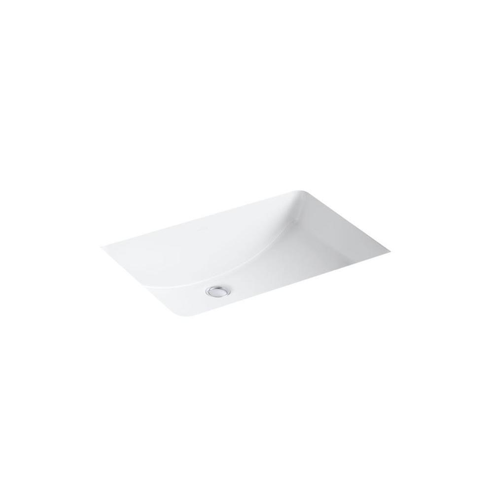 Kohler Ladena 23 1 4 In Undermount Bathroom Sink In White With Overflow Drain K 2215 0 Undermount Bathroom Sink Sink