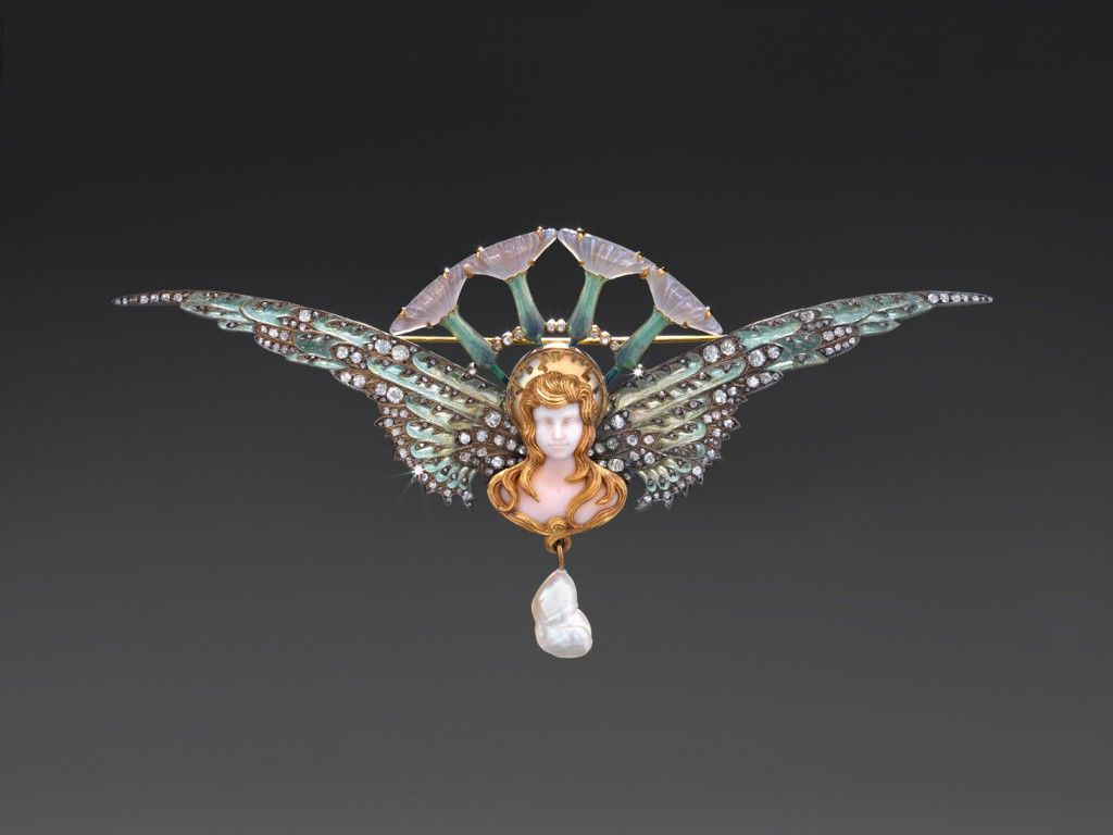 Brooch c. 1904   Georges Fouquet French 1862 - 1957 Gold, enamel, opal, unidentified ivory colored stones, engraved glass, diamonds, pearls