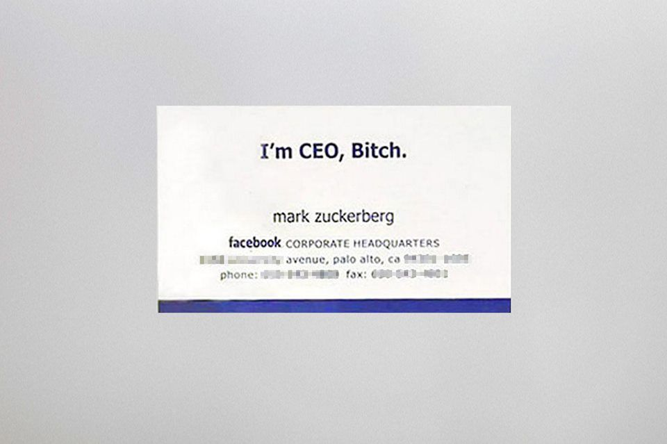 Have you seen Mark Zuckerberg\'s business card? LOL | Business Card ...