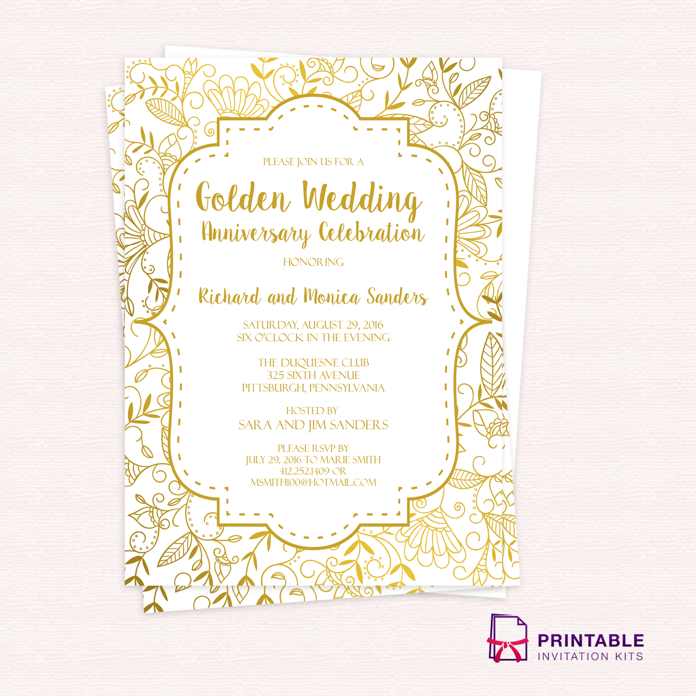Golden Wedding Anniversary Invitation Template Wedding