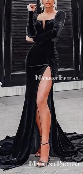 Elegant Charming Sparkly Neckline Long Sleeves Black Velvet Long Cheap Mermaid Prom Dresses, TYP0133 Elegant Charming Sparkly Neckline Long Sleeves Black Velvet Long Cheap Mermaid Prom Dresses, TYP0133 - Prom dresses with sleeves, Black velvet dress long, Cheap mermaid prom dresses, Velvet dress long, Prom dresses gowns, Long sleeve dress formal - Elegant Charming Sparkly Neckline Long Sleeves Black Velvet Long Cheap Mermaid Prom Dresses, TYP0133 The long promdresses are fully lined, 4 bones in the bodice, chest pad in the bust, la ce up back or zipper back are all available, total 126 colors are available  This dress could be custom made, there are no extra c