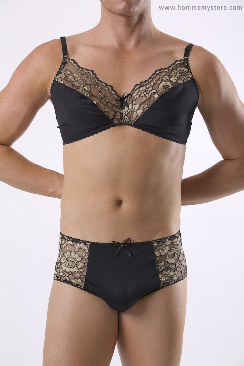 The Flame bra and panty set. The gold lace looked ...