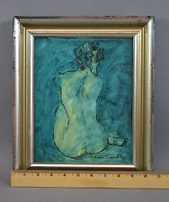 Vintage 1960s WILLIAM COOMBS Modernist Expressionist Nude Woman Oil Painting