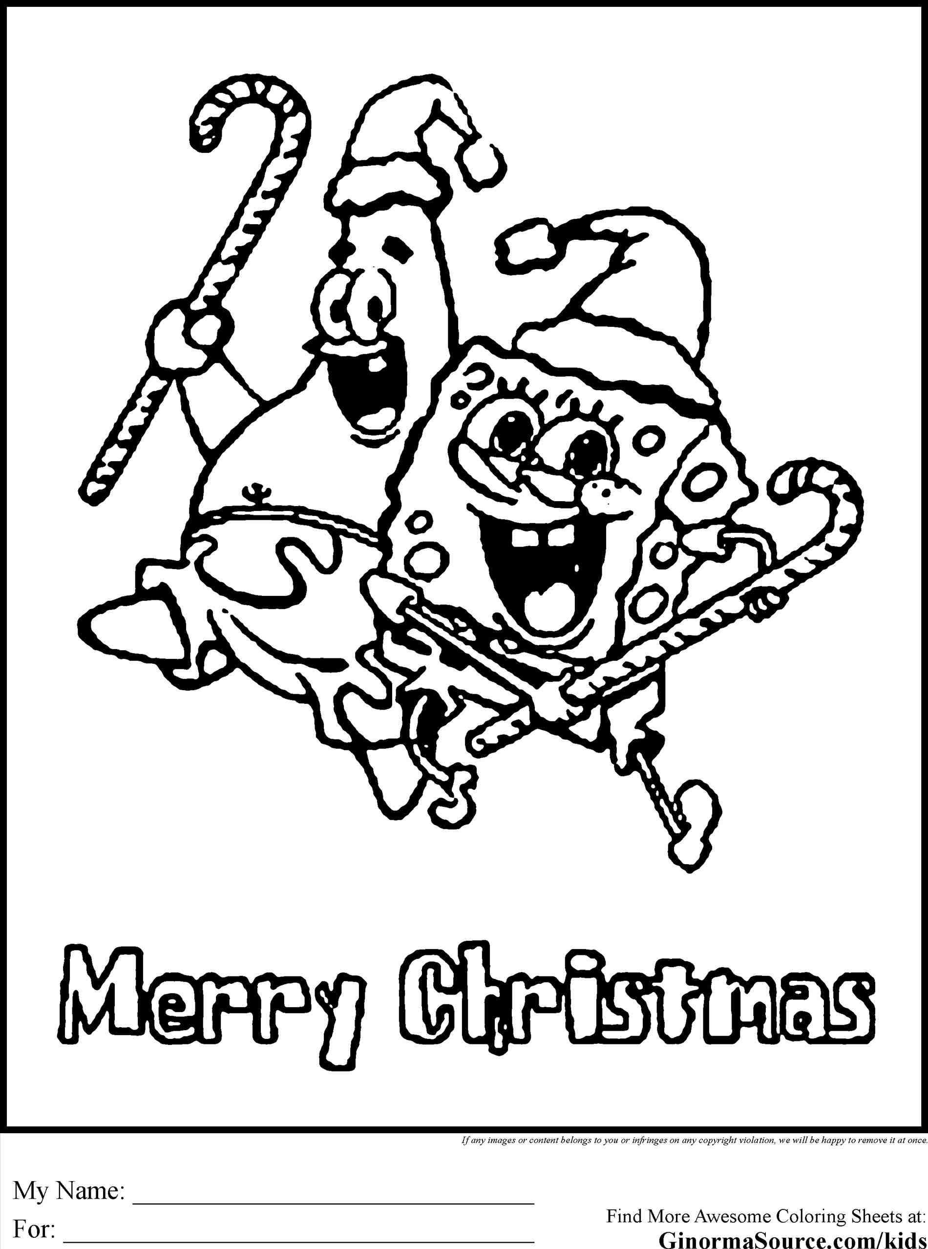 Spongebob Christmas Coloring Pages Wishing You Merry Who Lives In A Pineapple Under The Sea SpongeBob SquarePants Yellow And Porous Is He