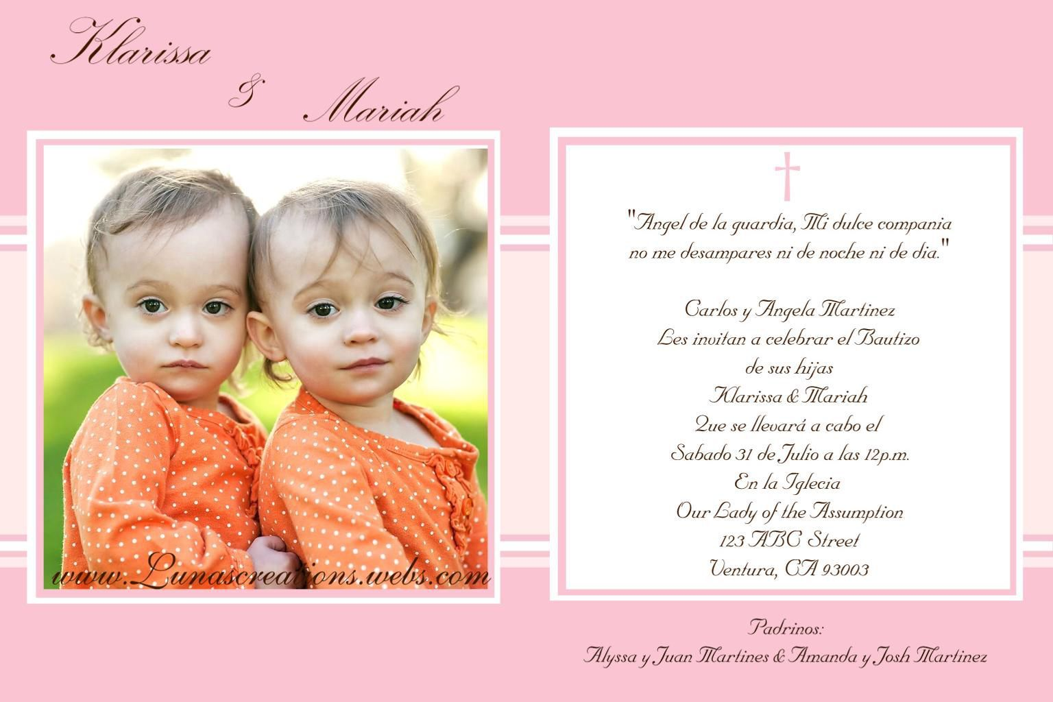 baptism invitations in spanish template baptism invitations