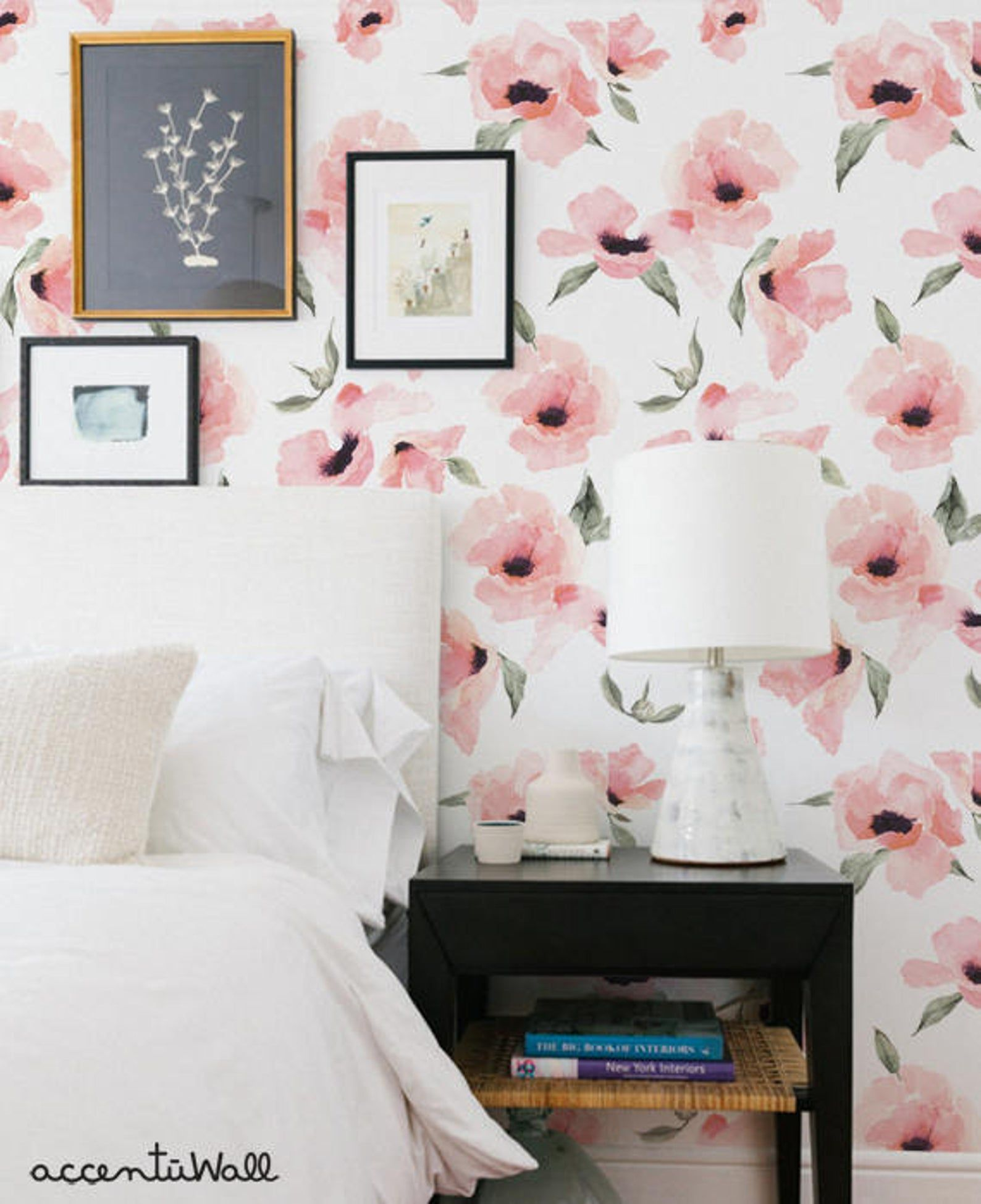 Floral Wallpaper Watercolor Poppy Flowers Pink Peel ...
