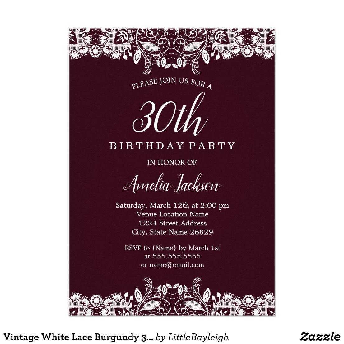 Vintage White Lace Burgundy 30th Birthday Party Card | Birthday ...