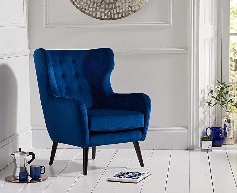 Alaska blue velvet accent chair blue velvet chairs blue