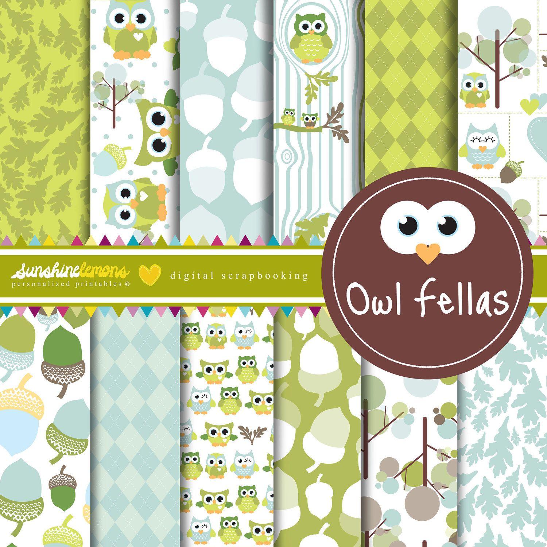 Scrapbook paper baby - Green Baby Owls Digital Scrapbooking Paper Set 4 50