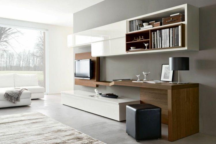 Aménagement de bureau moderne dans un salon design futur