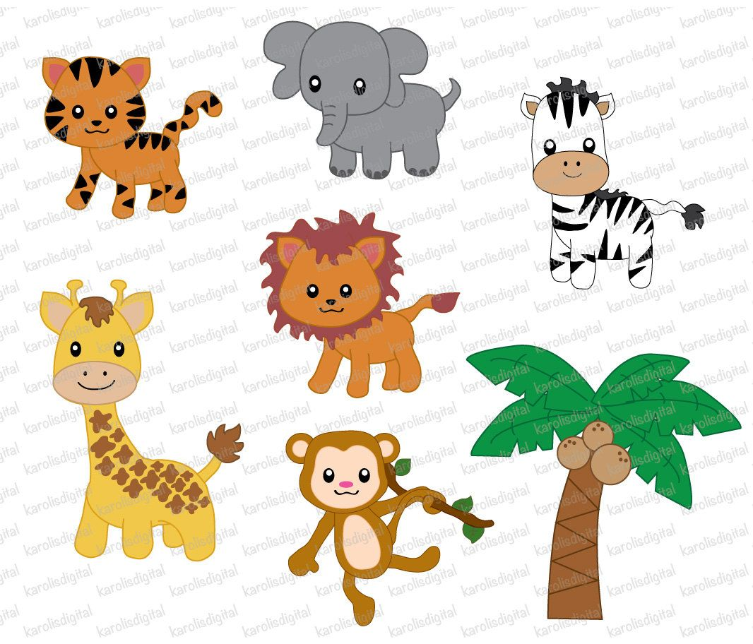 Clip Art Images Aniamals Of 7 Png Files Of Cute Jungle Animals With Transparent Background Digital Clip Art Set Clip Art Animal Clipart