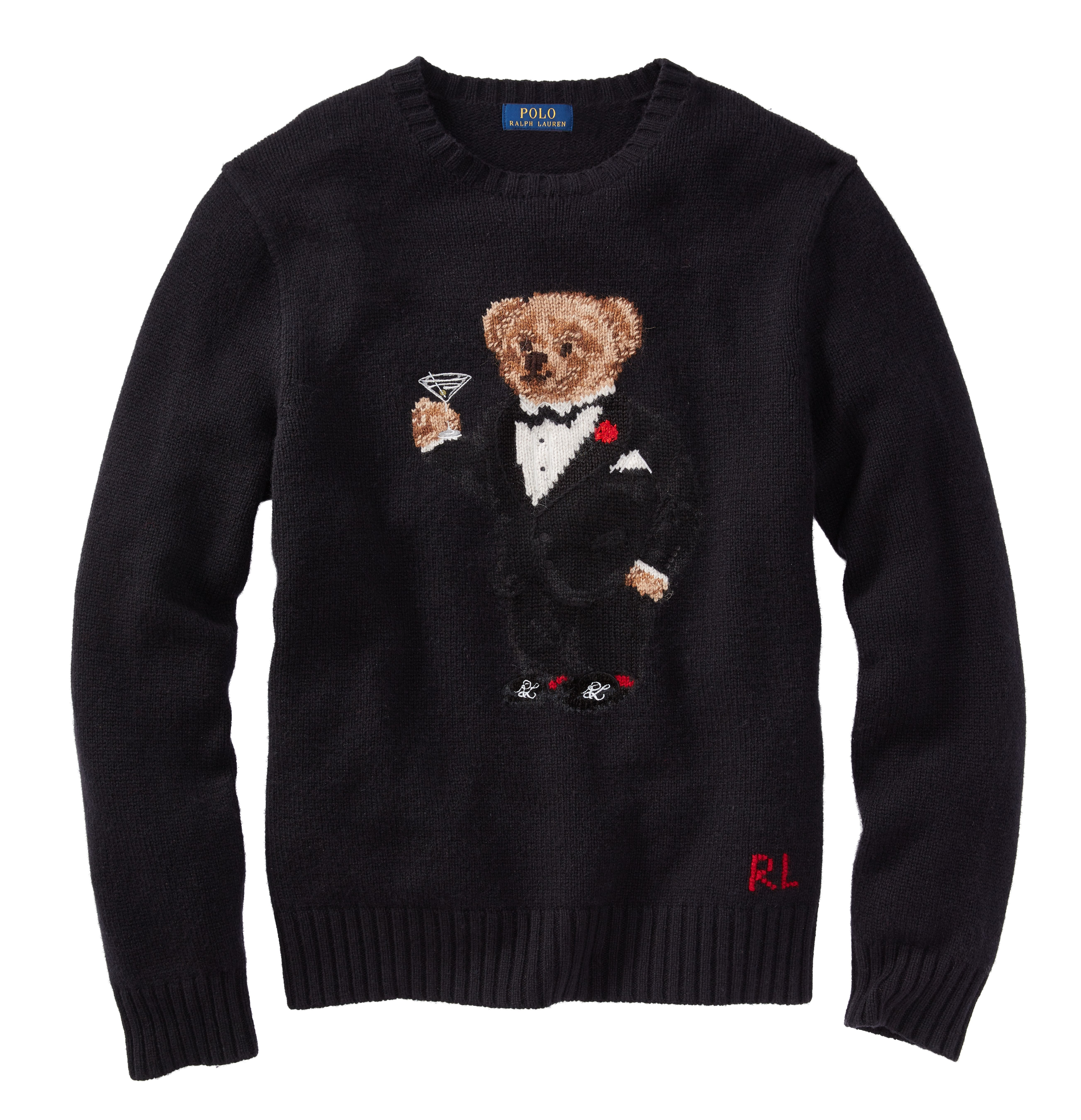 feda5235b43 Polo Holiday Tuxedo Bear Wool Blend Sweater