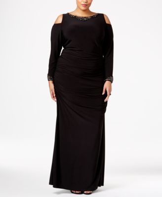 Adrianna Papell Plus Size Embellished Cold-Shoulder Gown ...