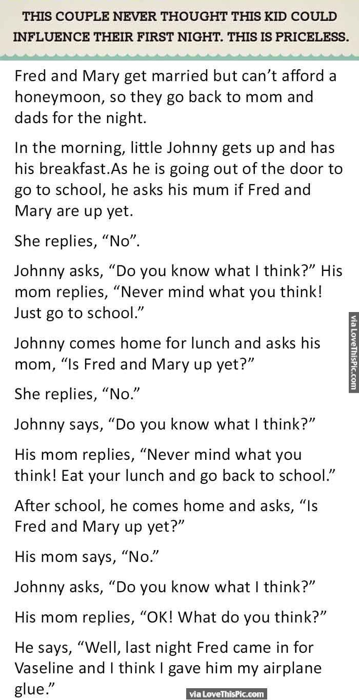 Uncategorized Lil Johnny Jokes this couple never thought kid could influence their first night funny jokes story lol quote quotes sayings j