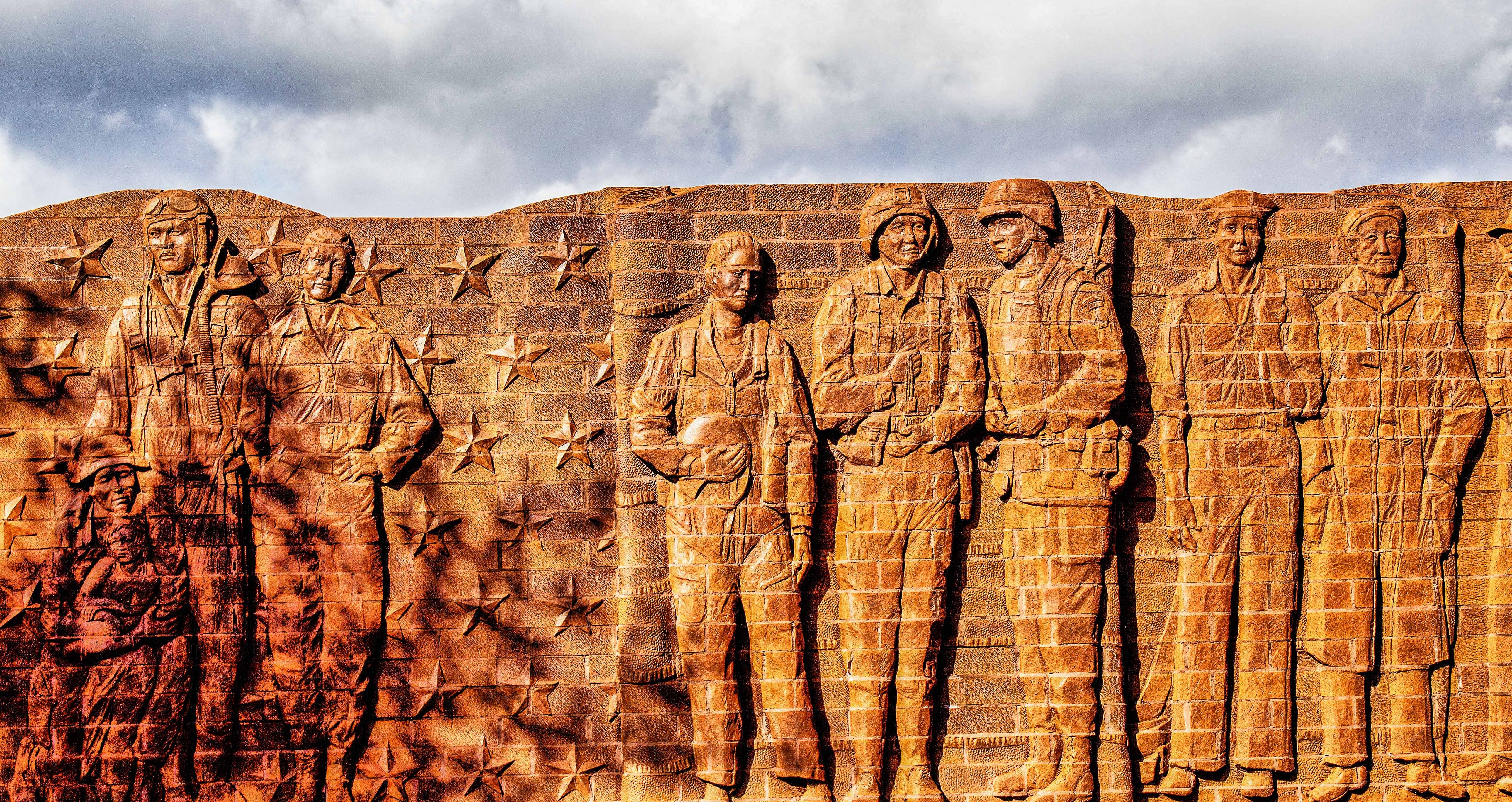 Veterans Memorial at Liberty Park, North Richland Hills, TX in bas relief.