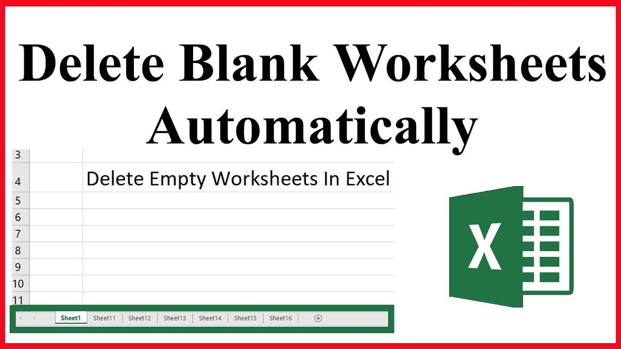 How To Remove or Delete Empty Sheets From A Workbook In