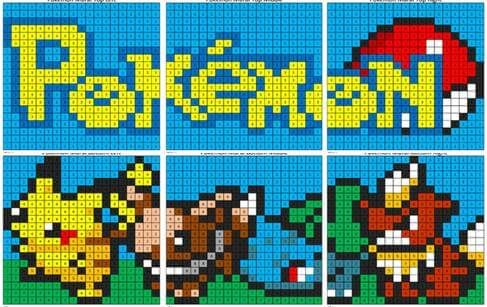 Pokémon Mural- Color by Number Combine these 6 color by number ...
