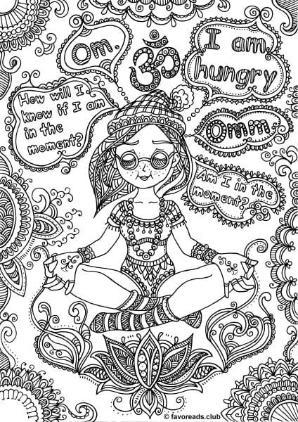 Womans Adventure Meditation Adult coloring Printable coloring