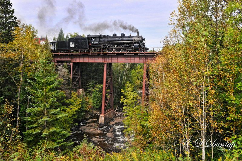 Old Duluth steam train crossing the Sucker River Bridge - Between Duluth and Two Harbors