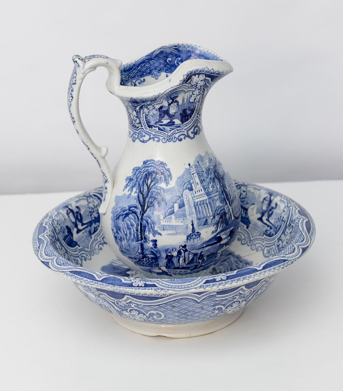 Lovely old transfer ware pitcher and bowl in deep blue and ...