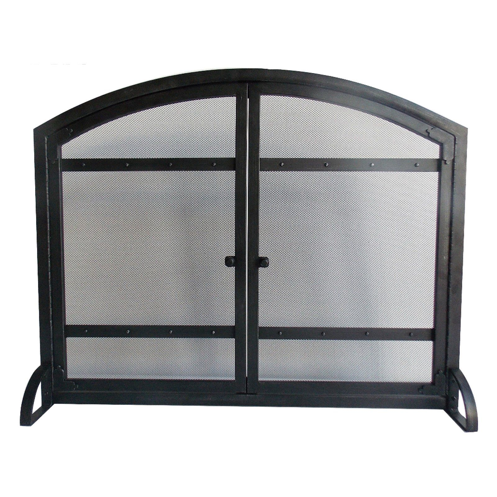 Pleasant Hearth Fa338s Harper 1 Panel Fireplace Screen With Doors Antique Black Finish Fireplace Screens With Doors Fireplace Screens Fireplace Accessories