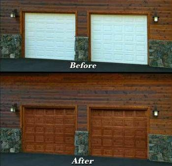 Painting garage doors affordable faux wood grain garage for How to paint faux wood garage doors
