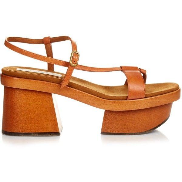 Stella McCartney Altea faux-leather block-heel platform sandals (1.065 BRL) ❤ liked on Polyvore featuring shoes, sandals, brown block heel sandals, tan platform sandals, chunky platform shoes, brown platform sandals and block heel shoes